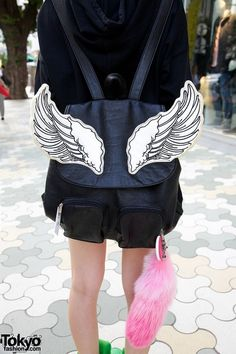 8be1f7bdd20 Tokyo fashion bag and Cain wolf tail Japan Street