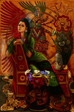 The Aztec goddess XOCHIQUETZAL (sho-chi-ket-sal),goddess of the flowers, plants, games, dance, and  love