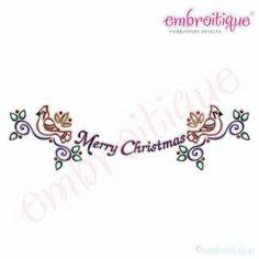 Embroidery Designs (All) - Merry Christmas Bird Banner Embroidery Design on sale now at Embroitique!