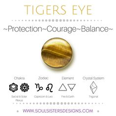 Metaphysical Healing Properties of Tigers Eye, including associated Chakra, Zodiac and Element, along with Crystal System/Lattice to assist you in setting up a Crystal Grid. Go to https://wwwsoulsistersdesigns.com/tigers-eye to learn more!