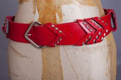 1980s Red Leather Chevron Belt  / Made in France / by halfasecond, $40.00