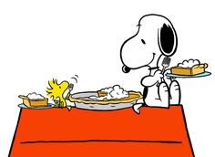Snoopy and Woodstock Sharing a Pumpkin Pie Snoopy Cafe, Snoopy And Woodstock, Snoopy Comics, Fun Comics, Peanuts Thanksgiving, Snoopy Images, Dog Scrapbook, Cute Beagles, Joe Cool