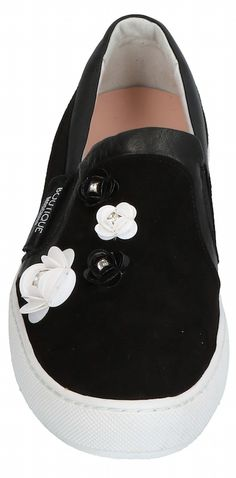 Boutique Moschino | Suede Sneaker with leather trim in black, with appliquéd flowers and elastic gussets on the vamp, a round toe, slip-on styling and a white rubber sole | from Yoox.com | June 2018