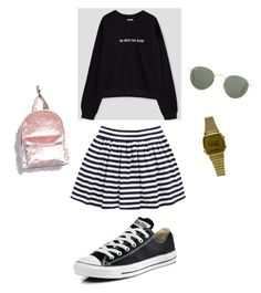 """""""hoodie+skjørt"""" by andreakri on Polyvore featuring Converse, Casio, Forever 21 and Ray-Ban"""