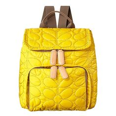 Orla Kiely Sixties Stem Quilted nylon fabric backpack in canary yellow with leather trims and webbing for adjustable shoulder straps (max 80cm).