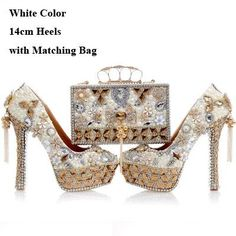 fe6ba26e2308 2017 Newest Design White Pearl Wedding Shoes with Matching Bag Gorgeous  Handmade High Heels Women Crystal Bridal Shoes