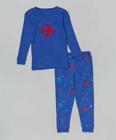 Look what I found on #zulily! Blue & Red Airplane Pajama Set - Infant, Toddler & Boys by Leveret #zulilyfinds