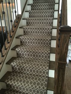 Geometric Staircase runner installation. A Stanton carpet in Pioneer Interlock