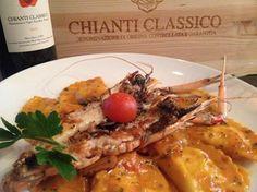 Enjoy Chef Tanino Drago's Special Homemade Lobster  Ravioli in an Organic Heirloom Tomato Sauce w/ Fresh Wild New Zealand Prawns. Buon Appetito.