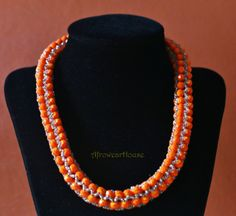 Orange Bead Necklace Beaded Necklace Fashion by AfrowearHouse