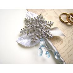 Snowflake Brooch Boutonniere, Men's Lapel Flower, Winter Wonderland... ($26) ❤ liked on Polyvore featuring men's fashion