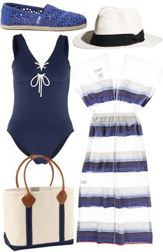 "How to Pack for a Summer Beach Weekend - ""Beach Wear"": TOMS shoes, $79, toms.com; Biltmore & Madewell hat, $58, madewell.com; Heidi Klein swimsuit, $261, my-wardrobe.com; Lemlem dress, $245, lemlem.com; L.L. Bean tote, $50, llbean.com. #InStyle"