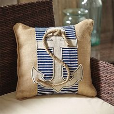 Obsessed with this navy and white anchor pillow wrap - love the jute rope detail on a burlap pillow Burlap Pillows, Sewing Pillows, Anchor Pillow, Nautical Home, How To Make Pillows, Accent Pillows, Decorative Throw Pillows, Large Pillows, Jute
