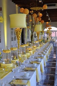 Never seen lampshades used in centerpieces, but the yellow theme looks clean alongside white linens Reception Table, Reception Decorations, Event Decor, Wedding Table, Wedding Reception, Table Decorations, Tea Ceremony, Event Ideas, Wedding Centerpieces