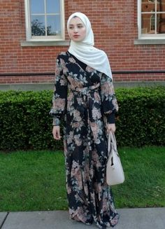 Modest fashion in college: Student Talia wears a long floral dress and head scarf in summer