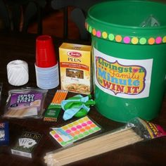Make Your Own Minute To Win It Bucket-we are definitely doing this for parties and most of all family night!!!