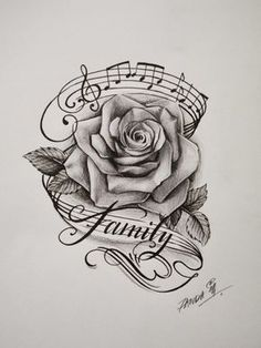 Image result for rose and music tattoo