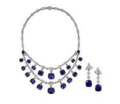 Important Natural Sapphire necklace with white marquise and pink brilliant-cut diamonds Total Sapphire weight 175.74cts Total diamond weight 50.60cts with matching earrings