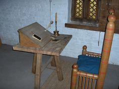 A medieval writing desk: would our writing be differently inspired if we were sitting at this desk? I wonder. Yes :)