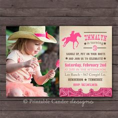 Vintage Cowgirl Birthday Invitation DIY Custom by printablecandee Rodeo Birthday Parties, Cowgirl Birthday Invitations, Horse Birthday, Tea Party Birthday, 2nd Birthday, Birthday Stuff, Birthday Ideas, Horse Party, Cowgirl Party