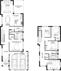 Exceptional Quality and Home Designs. Choose from our range of house designs or ask us to custom design for you. Narrow House Plans, Townhouse Designs, Storey Homes, Double Garage, Beach Shack, Architecture Plan, Master Suite, My House, Custom Design