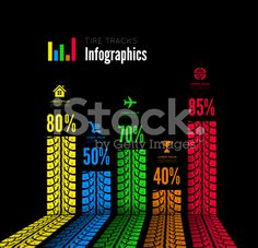 A background with colored tire tracks infographics royalty-free stock vector art