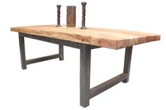 large welded table with wood top