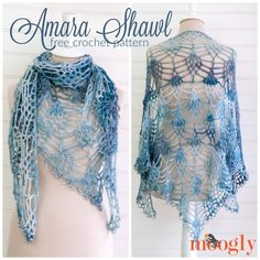 The Amara Shawl was inspired by both beauty, and need! Beautiful beads and yarn, and the need for a shawl light enough to wear in a southern summer!