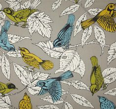 "Grey Aqua Bird Curtains, Bird Theme Curtain Panels, Trendy Window Curtains, Nature Inspired Drapes, Grey, Yellow, Rod-Pocket, One Pair 50""W by asmushomeinteriors on Etsy https://www.etsy.com/listing/244771525/grey-aqua-bird-curtains-bird-theme"