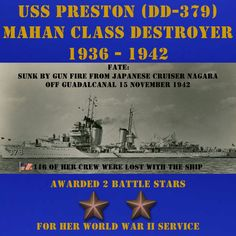 USS Preston (DD-379) CLICK ONTO THE PHOTO. POSTERS, APPAREL, & MUGS ARE ALSO AVAILABLE.