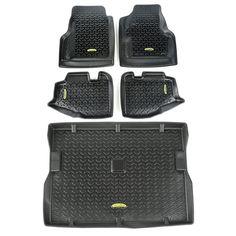 Floor Liners, Kit, Black; 97-06 Jeep Wrangler TJ