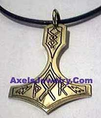Modern Viking jewelry - Bronze Thor in runes hammer
