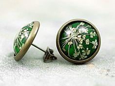 Real Flower Stud Earrings - green