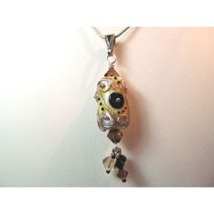 Necklace earth tone glass art lampwork bead and crystals (€35) ❤ liked on Polyvore featuring jewelry and necklaces