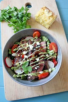 Seared Steak Salad with Avocado Dressing