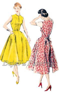 Vogue 8338 Vintage 1950s Easy Wrap Tie On Walk Away Style Dress Sewing Pattern by DejaVuPatterns