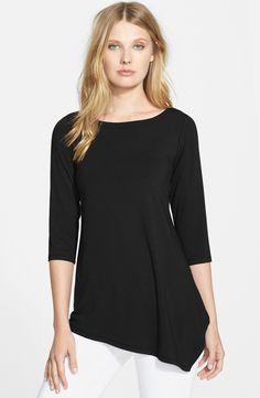 Eileen Fisher Asymmetrical Three Quarter Sleeve Top (Online Only) | Nordstrom