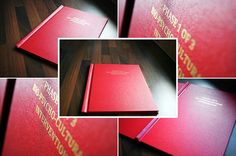 Hard bound thesis or dissertation shown in red library buckram bookbinding cloth. Bound by The Document Centre and gold foiled. See http://www.document-centre.co.uk/quote/ for more information on thesis printing and binding services including online.