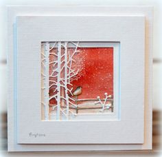 """Rapport från ett skrivbord: Simons says """"Create with Critters"""" (Penny Black: Snow Dust, Berry Branches, Into the Woods, and In The Garden) Holiday Cards, Christmas Cards, Penny Black Cards, Karten Diy, Window Cards, Bird Cards, Card Making Techniques, Watercolor Cards, Watercolour"""