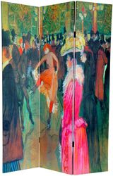 """Henri de Toulouse-Lautrec, """" Ball in the Moulin Rouge, circa 1890,"""" printed on a room divider screen"""