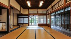 Traditional Japanese style tatami rooms - A shoin style room with the built-in desk in the left background