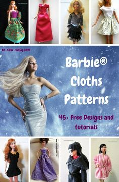 More than 45 free designs and tutorials for your barbie for any occasion and season. #free patterns, #so-sew-easy, #barbie cloths