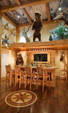Trophy Room - rustic - Home Bar - Other Metro - Heather DeMoras Cabana, Contemporary Family Rooms, Fantasy Bedroom, Home Bar Designs, Trophy Rooms, Rich Home, The Ranch, Bars For Home, Luxury Real Estate