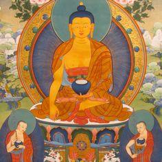 Shakyamuni Buddha and disciples by Tashi Dhargyal. TashiDhargyal.com Facebook.com/TibetanArt Twitter.com/tashidhargyal