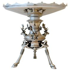 Sterling silver tazza with stag head & feet motifs c.1870 (laurenstanley)