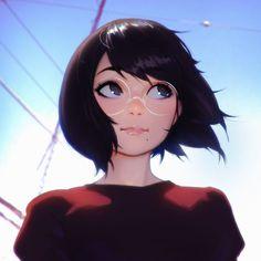 Anime girl in glasses Cartoon Kunst, Cartoon Art, Anime Art Girl, Manga Girl, Anime Girls, Kawaii Anime, Character Inspiration, Character Art, Digital Art Girl