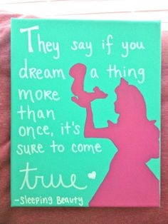 disney princess silhouette canvas with quote; how can I not do this for my little disney princess! Disney Princess Silhouette, Disney Princess Quotes, Disney Quotes, Senior Quotes, Thinking Day, Canvas Quotes, Just Dream, Disney Love, Walt Disney