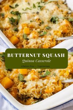 Butternut Squash Casserole with Quinoa This gluten-free Butternut Squash Quinoa Casserole is so easy to make and a crowd-pleaser! It makes the perfect vegetarian main course or a delicious side for a hearty meal. Healthy Recipes, Vegetable Recipes, Cooking Recipes, Yummy Recipes, Supper Recipes, Free Recipes, Recipies, Cooking Bacon, Cleaning Recipes