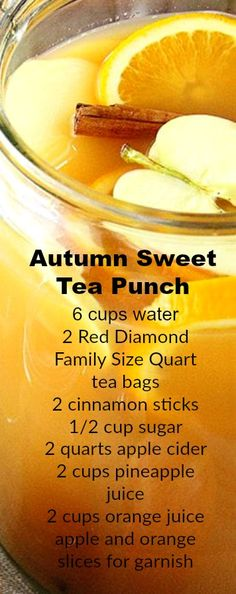 fall drinks The delicious flavors of fall combine in this epic Autumn Sweet Tea Punch recipe! Sweet tea, apple cider, orange and pineapple juice, and cinnamon all make an appearance in this festive beverage. Winter Drinks, Holiday Drinks, Summer Drinks, Iced Tea Recipes, Alcohol Drink Recipes, Tea Punch Recipe, Fall Recipes, Holiday Recipes, Fall Punch Recipes