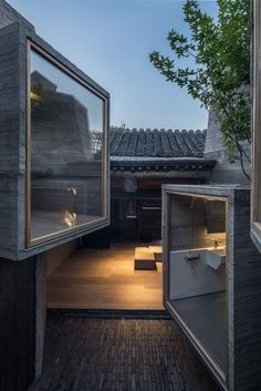 Micro-Hutong by ZAO/standardarchitecture features tiny concrete rooms installed by Zhang Ke in old Beijing hutong